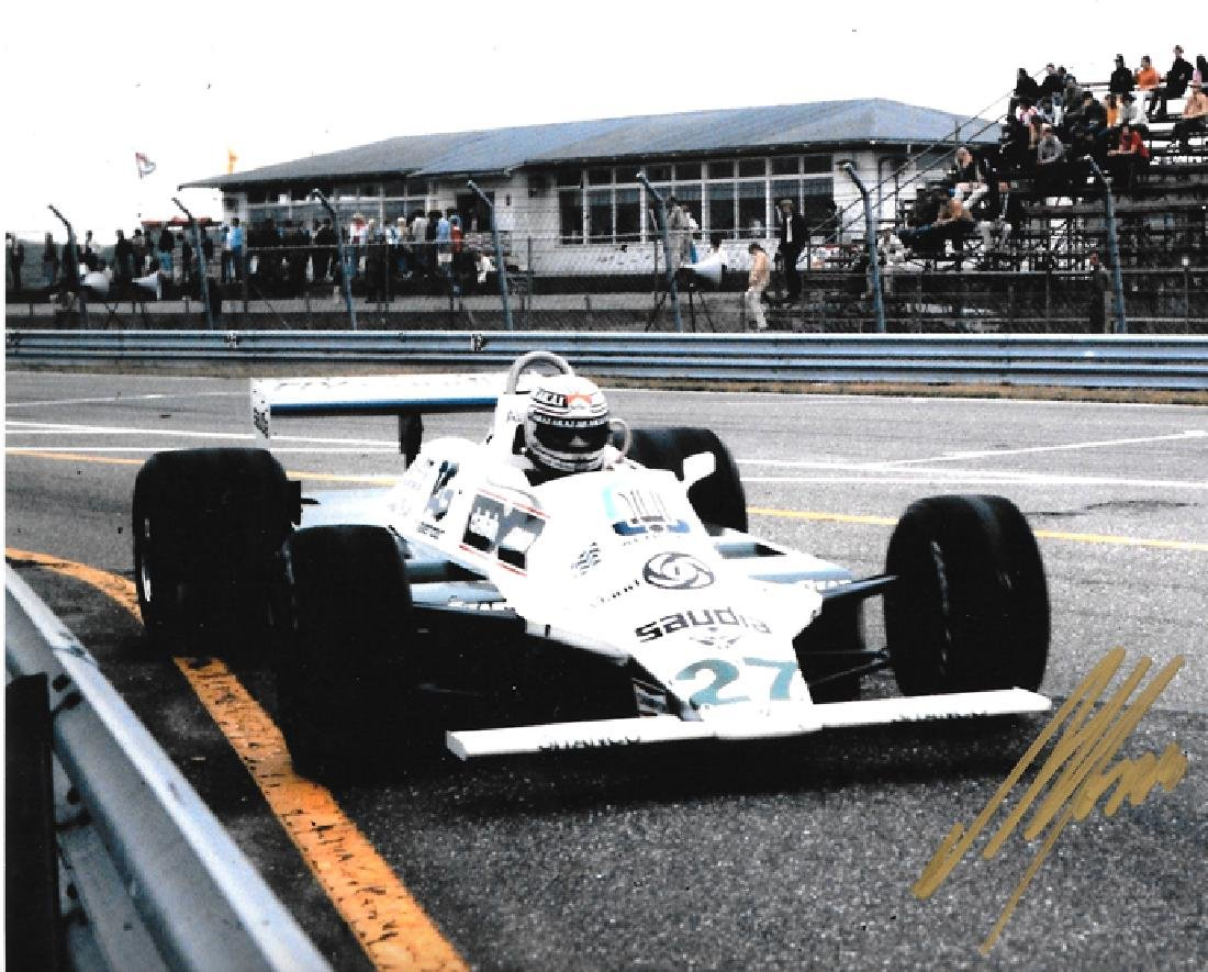 Six photographs signed by F1 driving greats, all 10 by