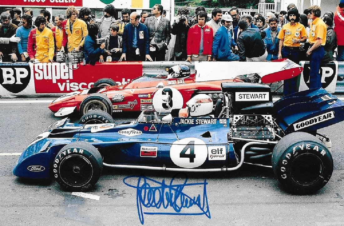 Six photographs signed by F1 driving greats, all 10 by - 6