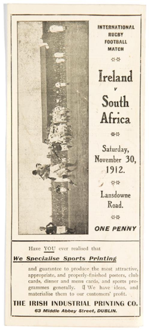 Rare Ireland v South Africa rugby union programme