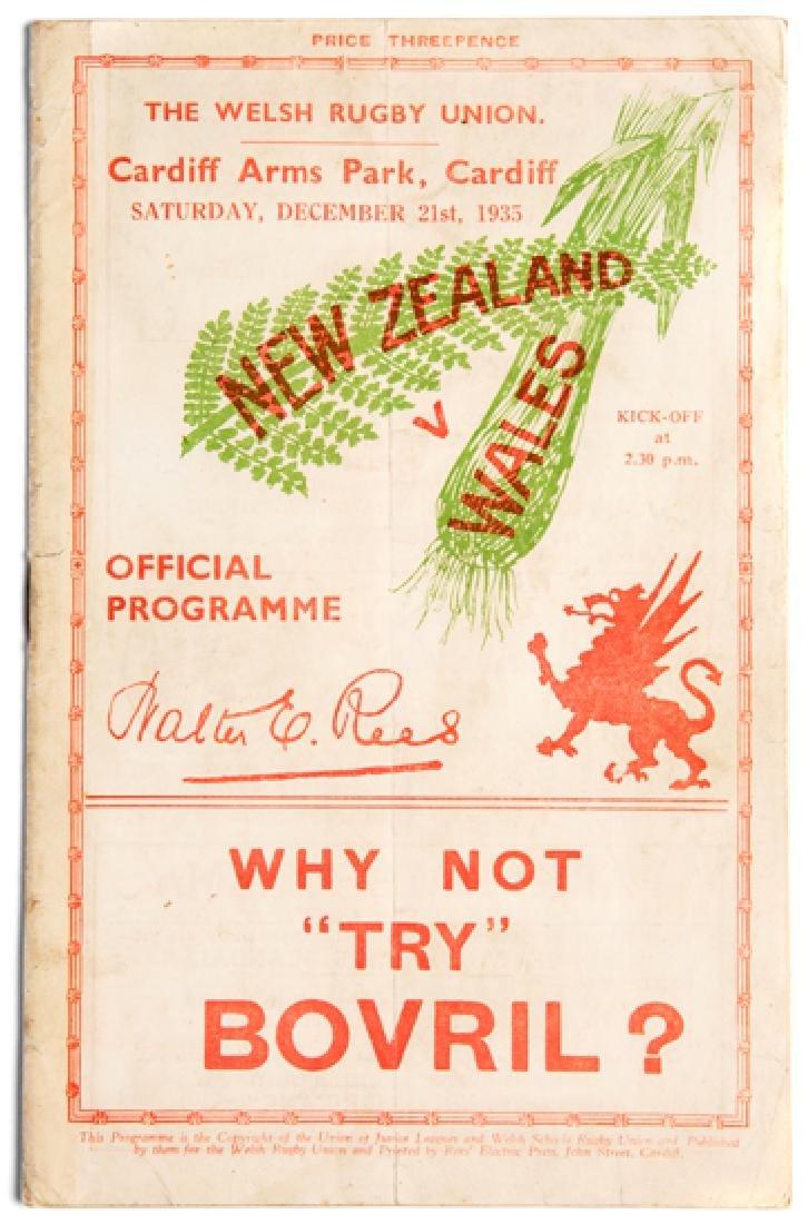 Wales v New Zealand rugby union international programme
