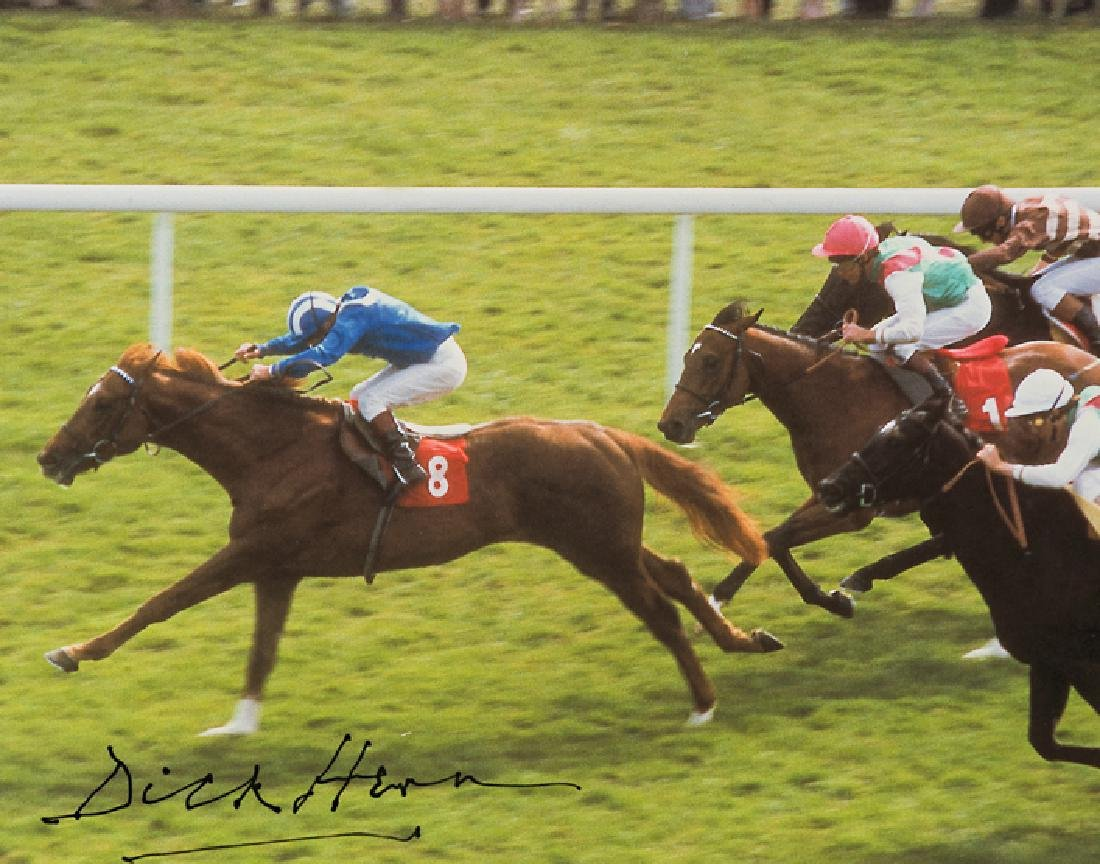 A Dick Hern signed colour photograph of Nashwan winning
