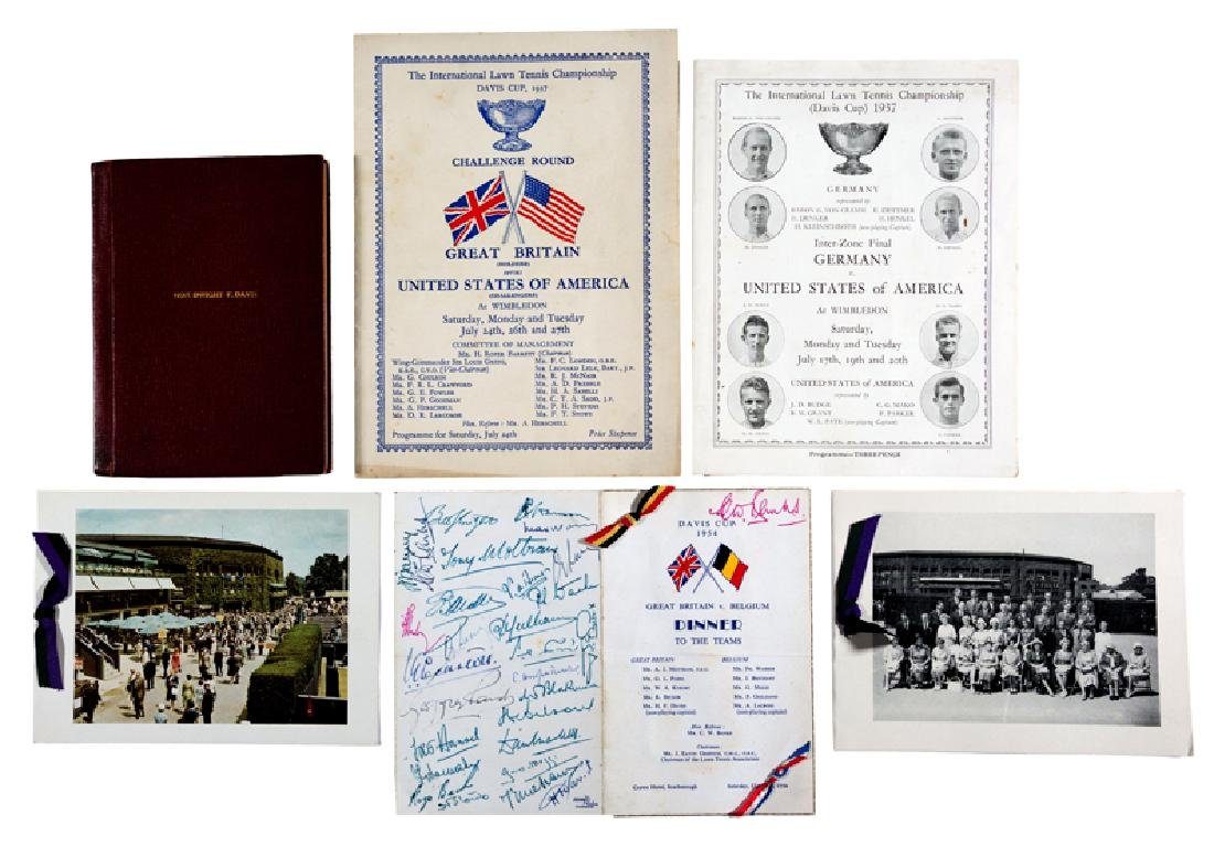 Davis Cup memorabilia, Comprising a bound volume of