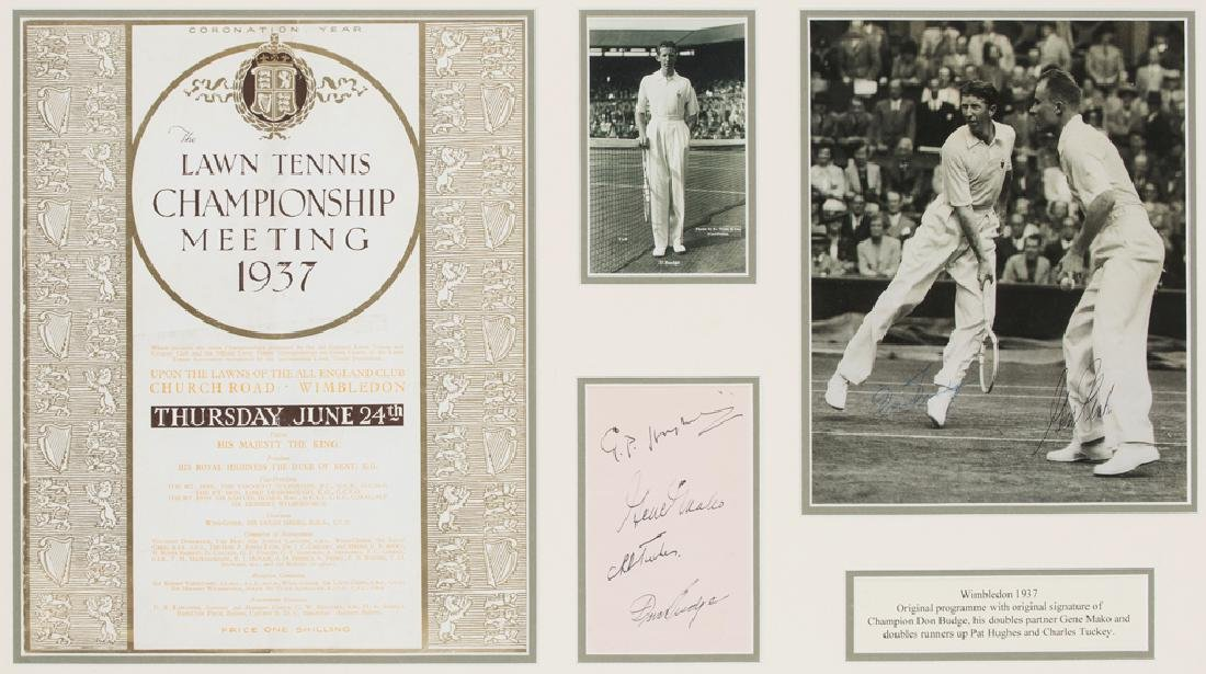 1937 Wimbledon framed display including the autographs