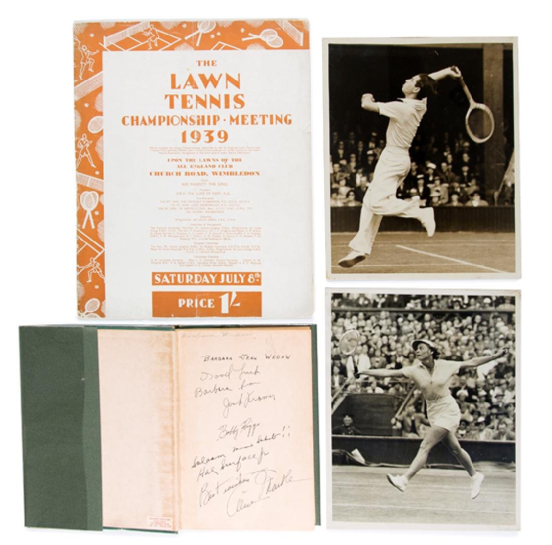 Alice Marble's book ''The Road To Wimbledon'' signed by
