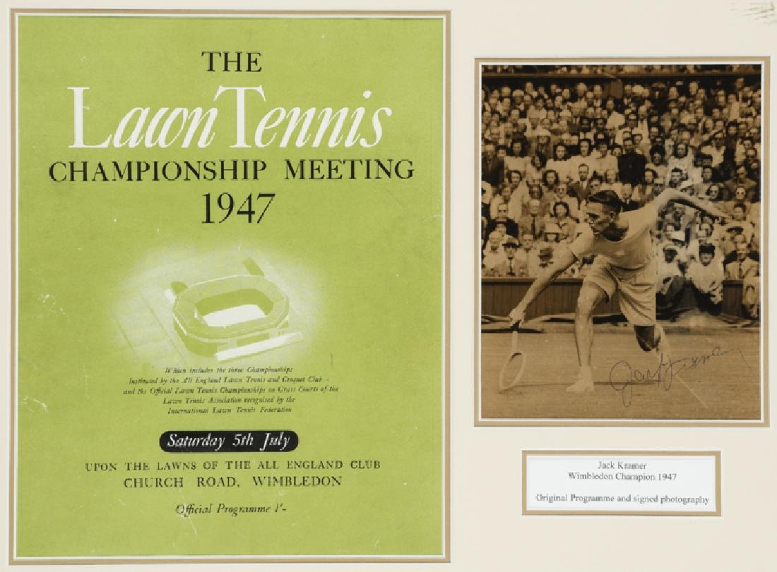 Jack Kramer signed 1947 Wimbledon framed display,