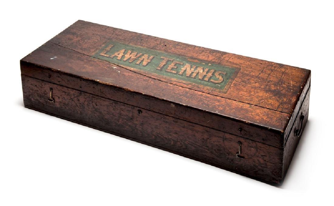 A varnished pine lawn tennis equipment box circa 1885,