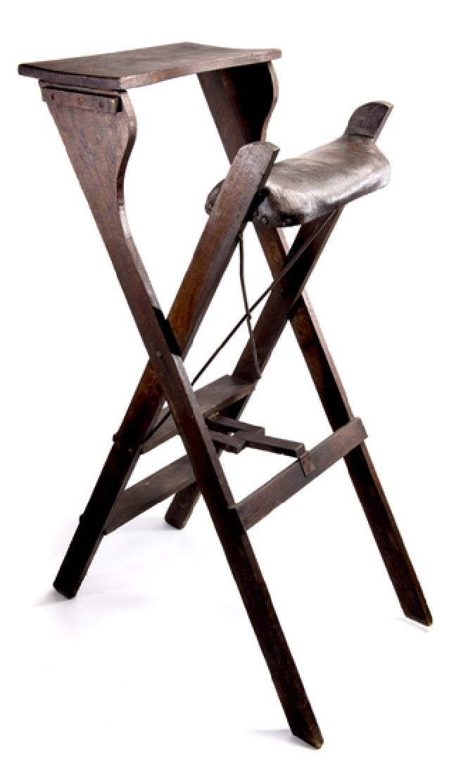 An Edwardian lawn tennis wooden umpire's chair, two