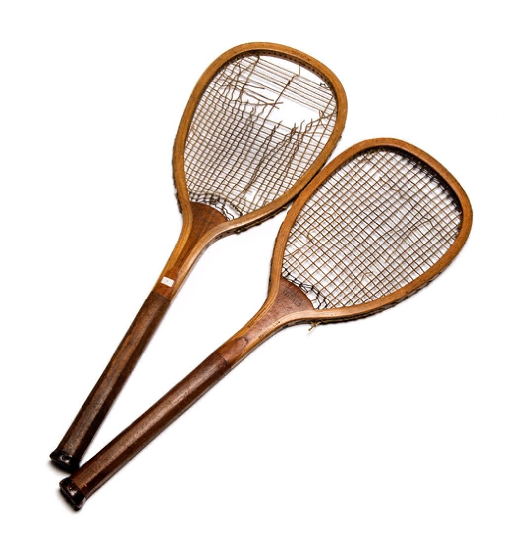 Two flat-top lawn tennis racquets, ''The Wonder'' by