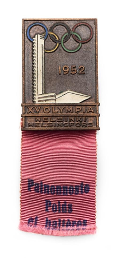Helsinki 1952 Olympic Games competitor's badge for