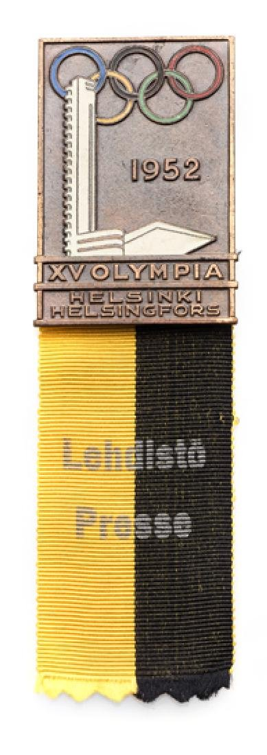 Helsinki 1952 Olympic Games press badge, bronze &