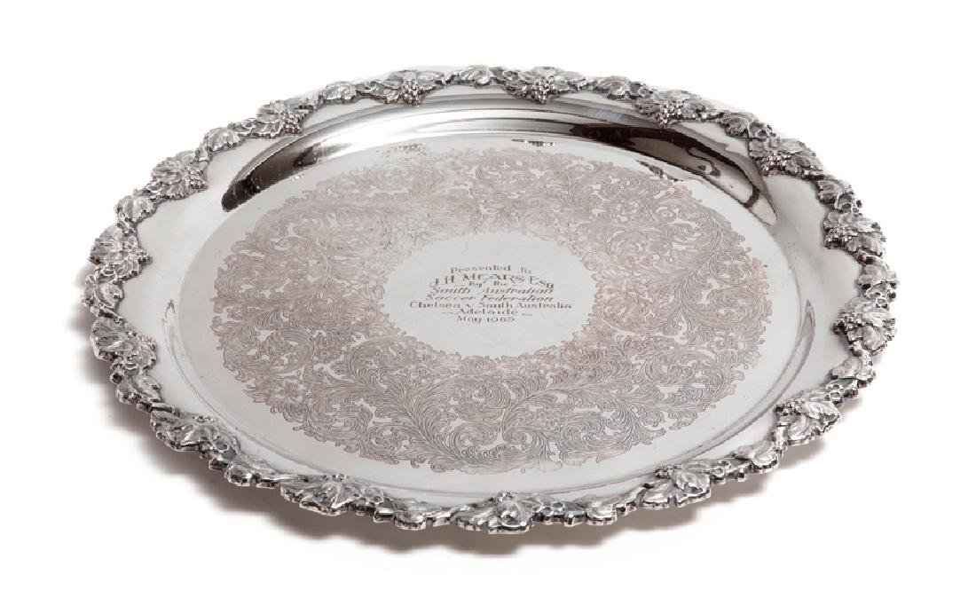 Large silver-plated salver presented to Joe Mears,