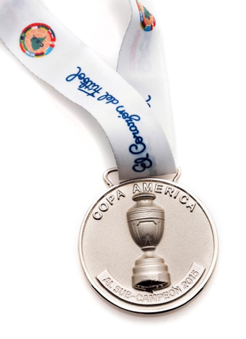 A 2015 Copa America runners-up medal, white metal,