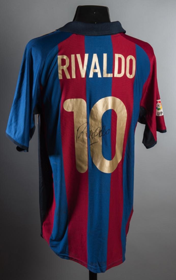 Rivaldo signed match-worn Barcelona No.10 La Liga