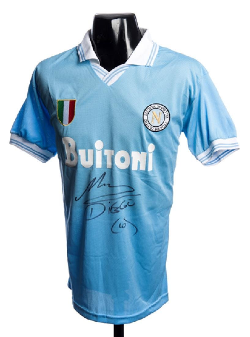 Diego Maradona signed Napoli No.10 replica home jersey,