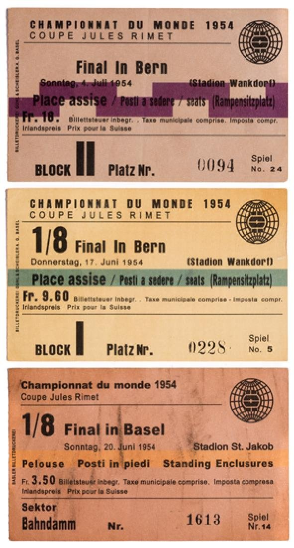 Three 1954 World Cup tickets, including the two matches