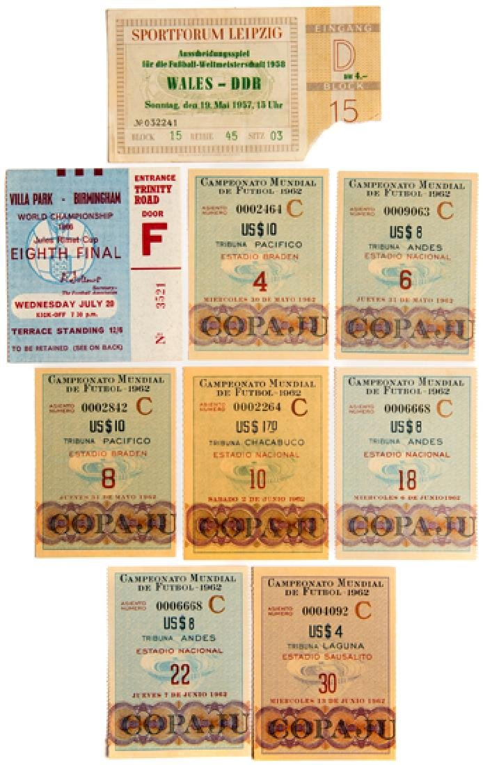 A collection of 9 World Cup tickets for 1958, 1962 &