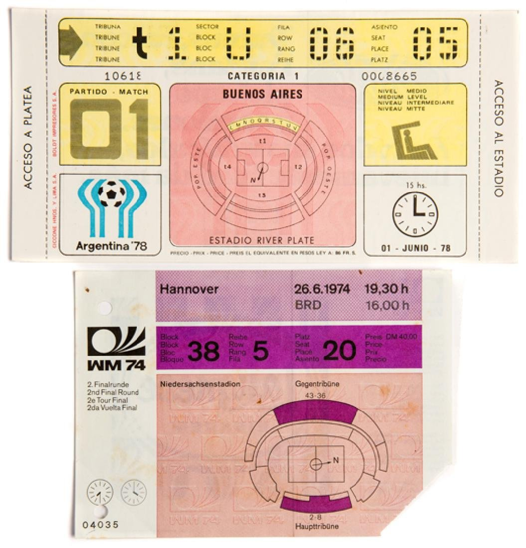 Ten tickets from the 1974 and 1978 World Cups, two from
