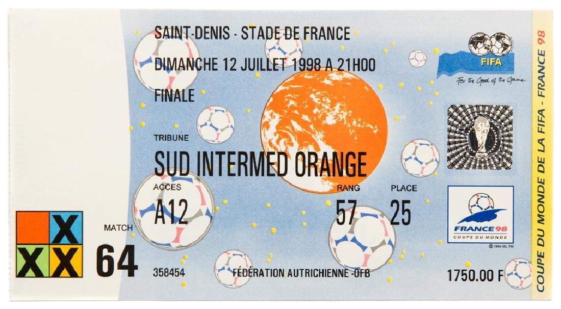 A collection of 48 tickets from the 1998 World Cup,