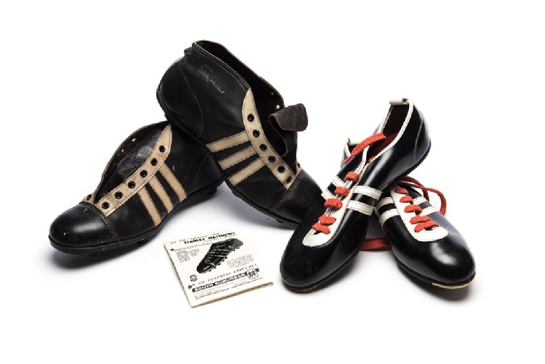 Two pairs of vintage football boots early 1960s, an
