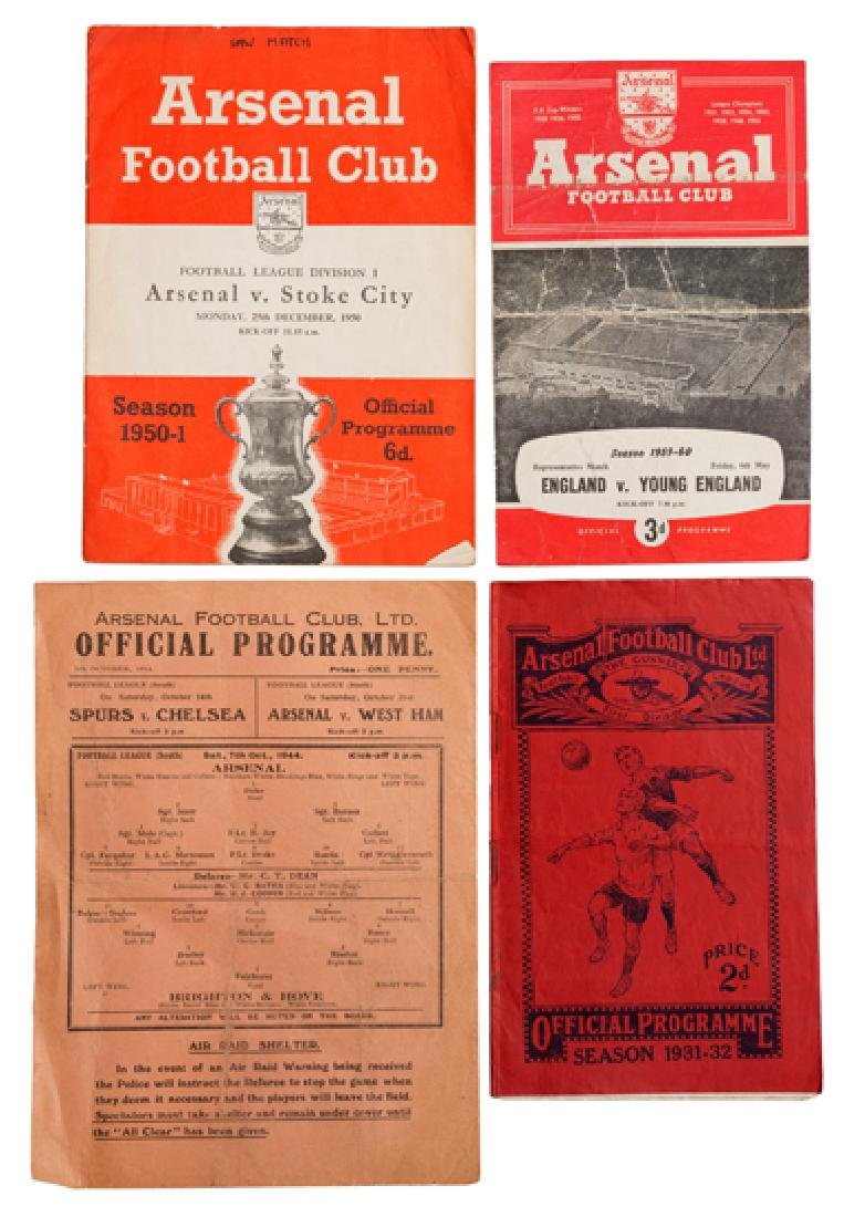 A collection of 20 Arsenal FC home programmes 1932 to
