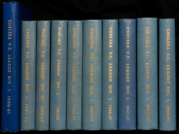 1067: 10 bound volumes of Chelsea home programmes cover