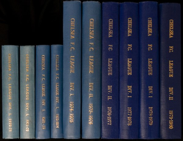 1068: 10 bound volumes of Chelsea home programmes cover