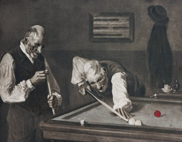 8: A Billiards picture in a custom made frame, unsigned