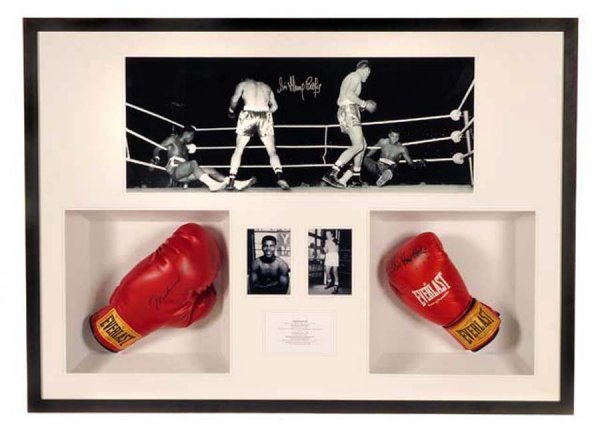 13: A Muhammad Ali and Sir Henry Cooper signed gloves p