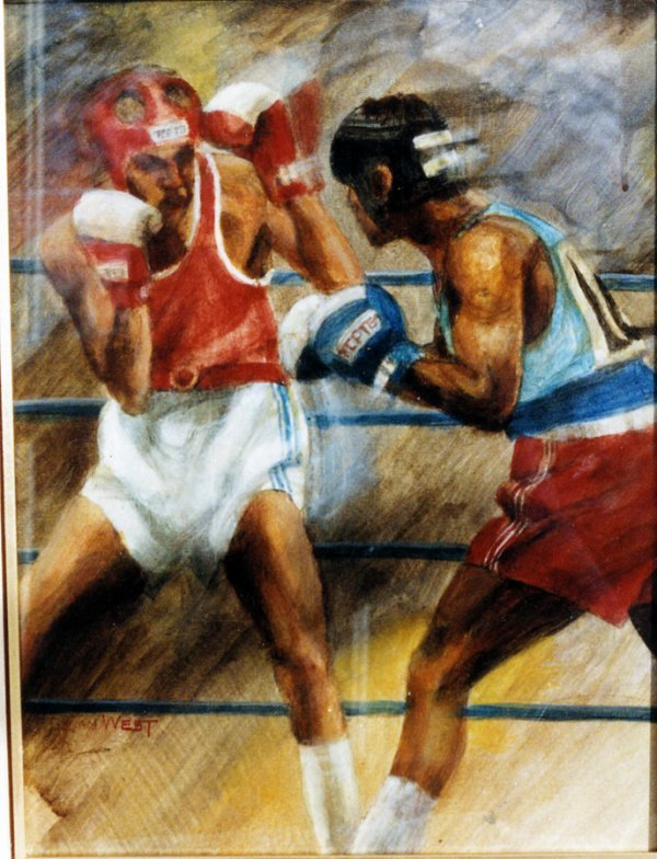 17: Brian West (born 1945) AMATEUR BOUT signed, acrylic
