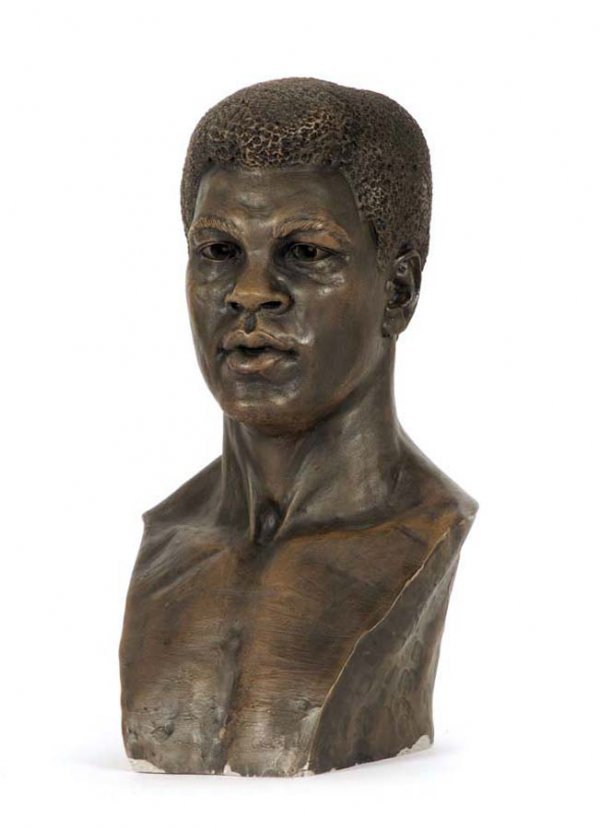 20: A sculpted bust of Muhammad Ali, resin, artist unkn