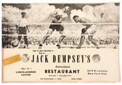 A large Jack Dempsey's restaurant menu autographed by