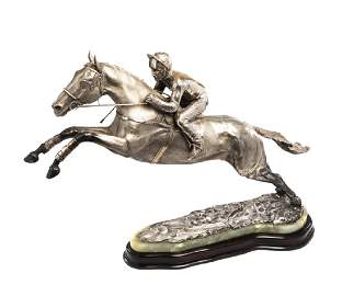 A large and impressive sterling silver sculpture of