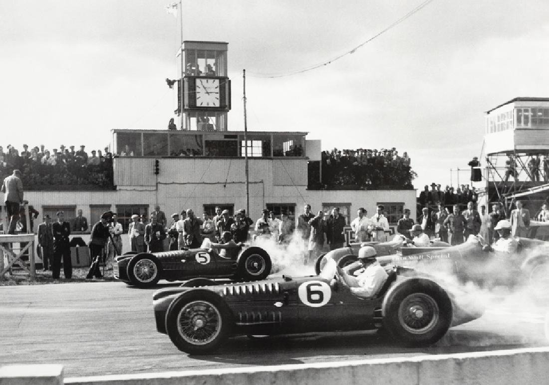 V16 B.R.M.s at Goodwood in 1952,  a large b&w period