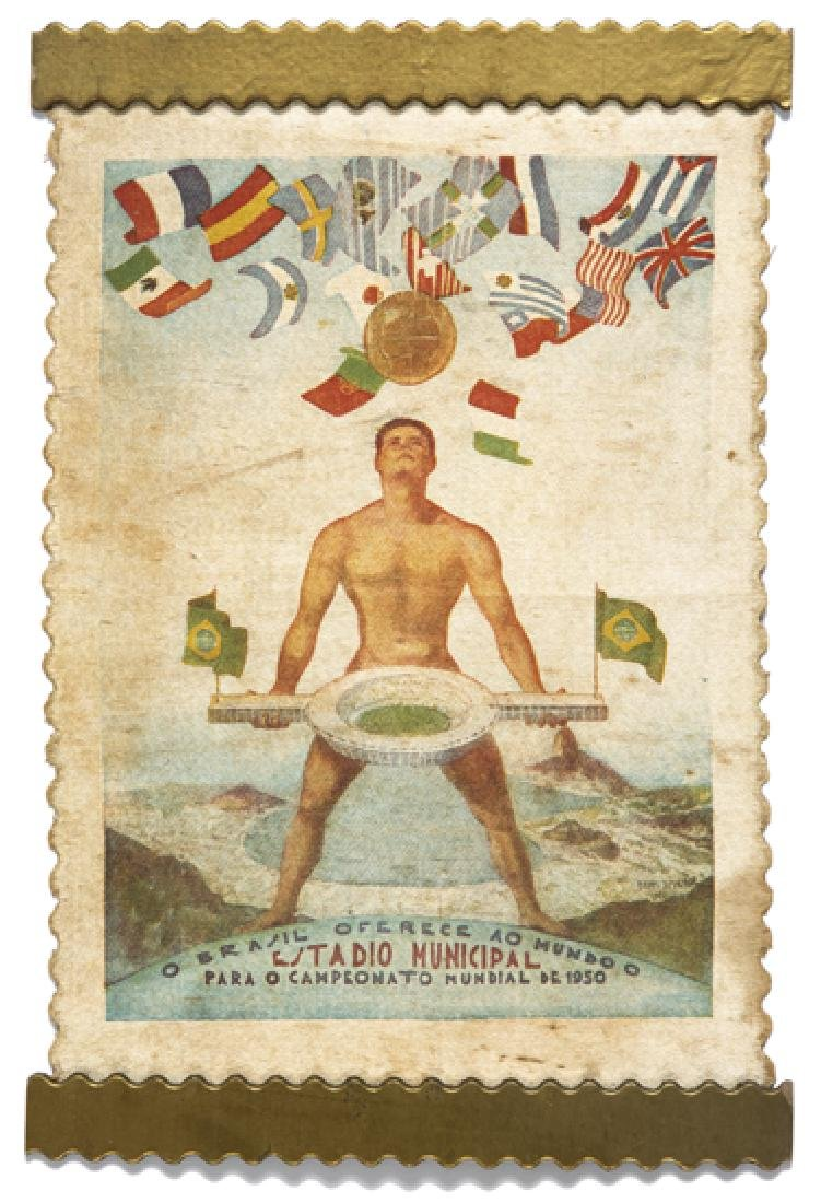 1950 World Cup pennant, in pictorial silkwork