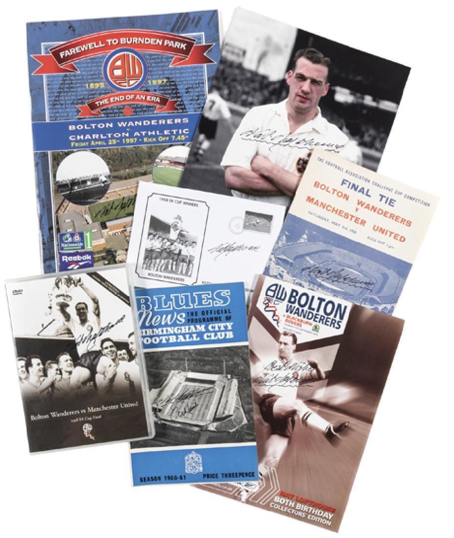 Seven Nat Lofthouse autographed items, comprising: 1958