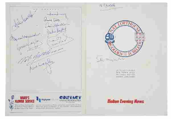 Autographed Nat Lofthouse dinner menu 1989, signed to