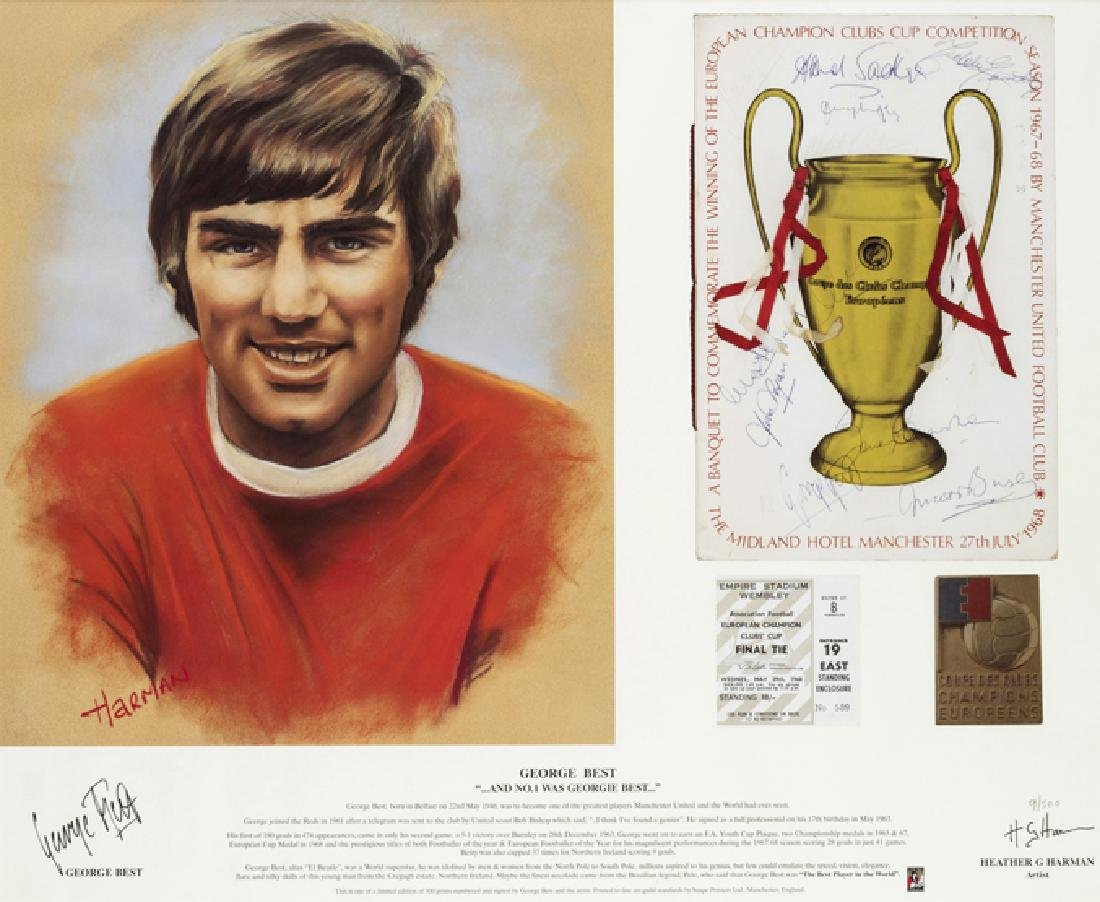 George Best signed Manchester United 1968 European Cup