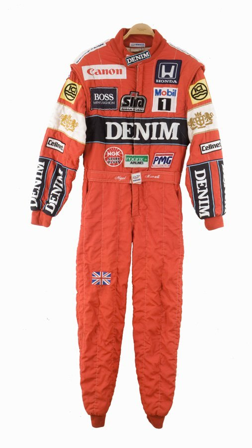 16: A Nigel Mansell nomex race-suit worn during the 198