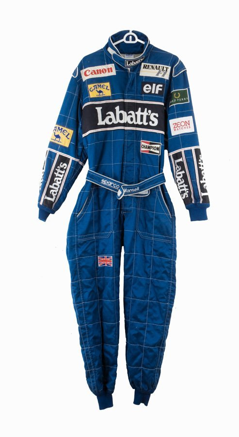 17: A Nigel Mansell FIA-certified race-suit worn during