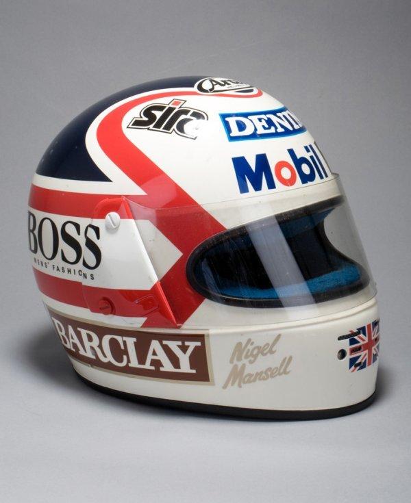 18: A Nigel Mansell 'Arai' replica helmet, carrying all