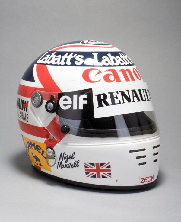 19: A Nigel Mansell 'Arai' race helmet worn during the