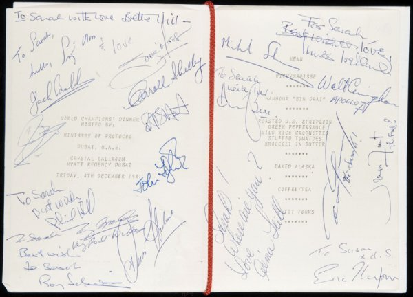 20: A World Champions' Dinner Dubai 1981 signed menu, d