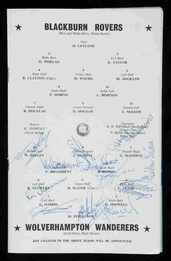 502: A 1960 F.A. Cup final programme signed by the Wolv