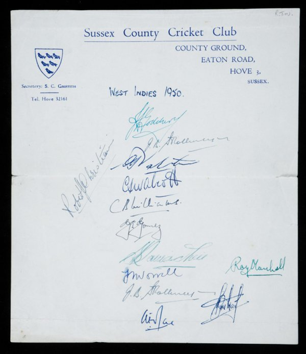 798: Three autographed sheets dating from 1950, the fir