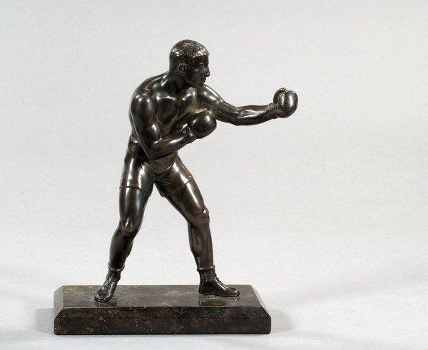 765: A bronze figure of a boxer, rich brown patina, mou
