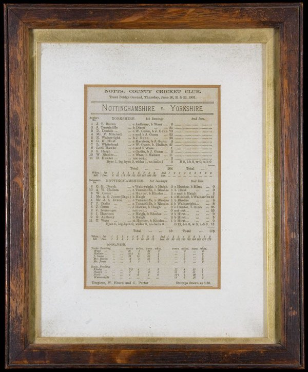 769: A silk scorecard printed to commemorate the county