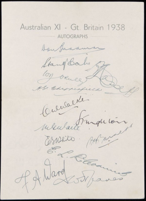 772: The autographs of the 1938 Australians, a sheet of