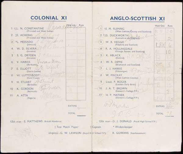 773: A signed Colonial XI v Anglo-Scottish XI wartime c