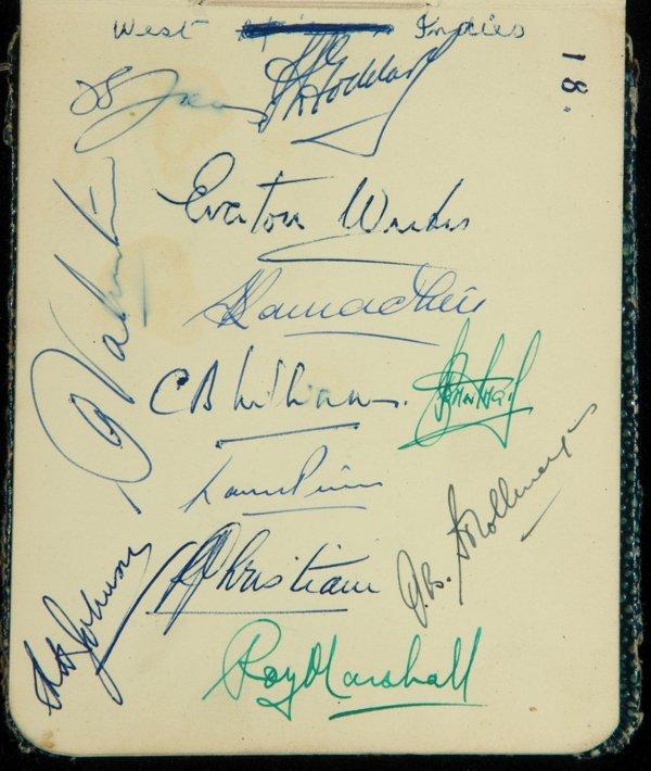 775: A cricket autograph album circa 1949-50, comprisin