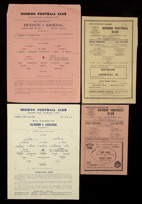 605: A group of eight Will Mather Cup programmes Hendon
